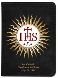 Personalized Catholic Bible with Jesuit IHS Cover - Black RSVCE