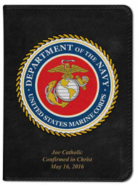 Personalized Catholic Bible with Marines Cover - Black RSVCE