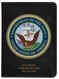 Personalized Catholic Bible with Navy Cover - Black NABRE