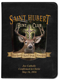Personalized Catholic Hunter Bible with St. Hubert Cover - Black NABRE