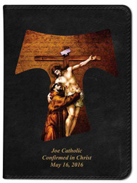 Personalized Catholic Bible with St. Francis Tau Cross Cover - Black RSVCE