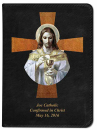 Personalized Catholic Bible with Bread of Angels Cross Cover - Black RSVCE