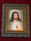 Traditional Sacred Heart of Jesus 5x7 Dark Ornate Framed Print