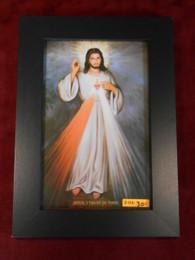 Divine Mercy (w/ Sacred Heart) 7x12 Black Framed Print