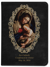 Personalized Catholic Bible with Madonna and Her Child Cover - Black RSVCE