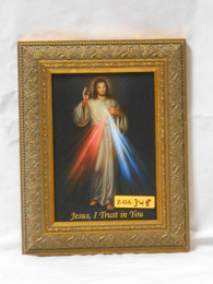 Divine Mercy 5x7 Carved Gold Framed Print