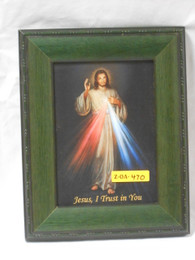 Divine Mercy 5x7 Green Framed Print