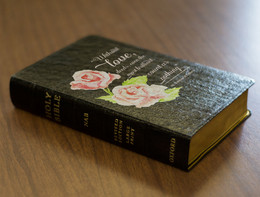 Personalized Catholic Bible with St. Therese Rose Cover - Black Genuine Leather NABRE