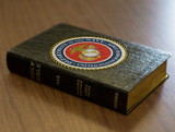 Personalized Catholic Bible with Marines Cover - Black Genuine Leather NABRE