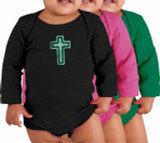 Cross Long-Sleeve Baby Onesie