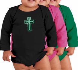 Cross Long-Sleeve Baby Onesie