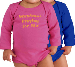 Grandma's Praying for Me! Long-Sleeve Baby Onesie