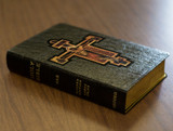 Personalized Catholic Bible with Byzantine Crucifix Cover - Black Genuine Leather NABRE