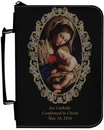 Personalized Bible Cover with Madonna and Her Child Graphic - Black