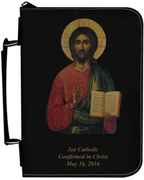 Personalized Bible Cover with Christ Pantocrator Icon Graphic - Black