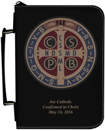 Personalized Bible Cover with Benedictine Medal Graphic - Black
