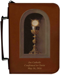 Personalized Bible Cover with Eucharistic Graphic - Tawny