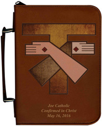 Personalized Bible Cover with Franciscan Crest Graphic - Tawny