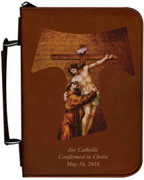 Personalized Bible Cover with St. Francis Tau Cross Graphic - Tawny