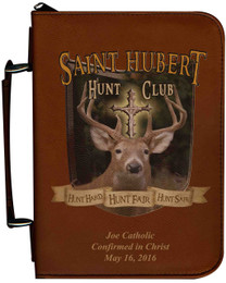 Personalized Hunter Bible Cover with St. Hubert Graphic - Tawny
