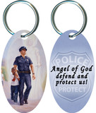 The Protector: Police Guardian Angel Oval Keychain
