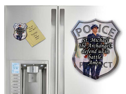 Police Guardian Angel with St. Michael Prayer Magnet