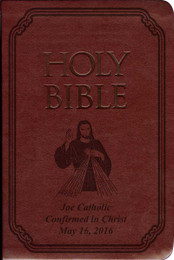 Laser Embossed Catholic Bible with Divine Mercy Cover - Burgundy NABRE