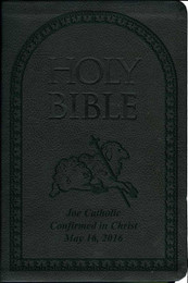 Laser Embossed Catholic Bible with Lamb Cover - Black NABRE