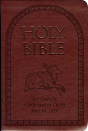 Laser Embossed Catholic Bible with Lamb Cover - Burgundy NABRE