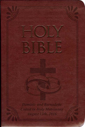 Laser Embossed Catholic Bible with Wedding Rings Cover - Burgundy NABRE
