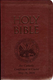 Laser Embossed Catholic Bible with Army Cover - Burgundy NABRE