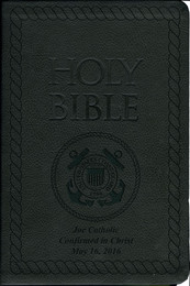 Laser Embossed Catholic Bible with Coastguard Cover - Black NABRE
