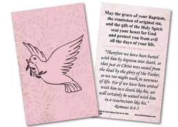 Dove Baptism Pink Holy Card
