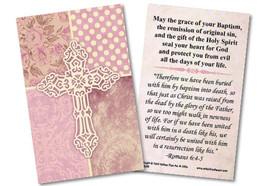 Carved Cross Pink Baptism Holy Card