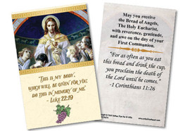 Bread of Angels First Communion Holy Card