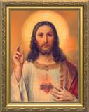 Antique Sacred Heart - Gold Framed Art