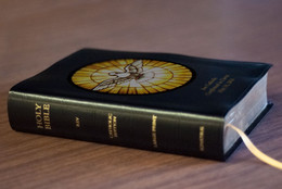 Personalized Catholic Bible with Holy Spirit Cover - Black Bonded Leather RSVCE