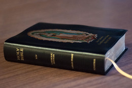 Personalized Catholic Bible with Our Lady of Guadalupe Cover - Black Bonded Leather RSVCE