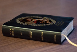 Personalized Catholic Bible with Madonna and Her Child Cover - Black Bonded Leather RSVCE