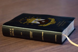 Personalized Catholic Bible with Discalced Carmelite Crest Cover - Black Bonded Leather RSVCE