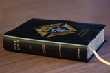 Personalized Catholic Bible with Knights of Columbus Cover - Black Bonded Leather RSVCE