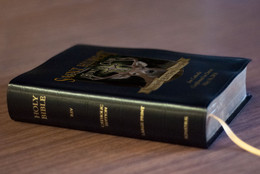 Personalized Catholic Hunter Bible with St. Hubert Cover - Black Bonded Leather RSVCE