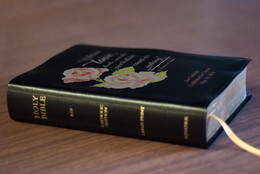 Personalized Catholic Bible with St. Therese Rose Cover - Black Bonded Leather RSVCE