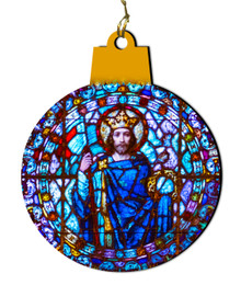 Christ the King Round Stained Glass Wood Ornament