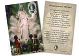 Our Lady of Fatima in Cloud 100 Year Anniversary Holy Card