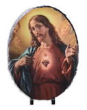 Sacred Heart Surrounded by Angels Oval Slate Tile