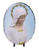 Our Lady Good Help Oval Slate Tile