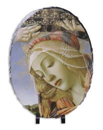 Madonna of the Magnificat (Detail) Oval Slate Tile