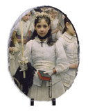 After the First Holy Communion (Detail 1 Girl) Oval Slate Tile