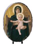 Virgin and Child Oval Slate Tile